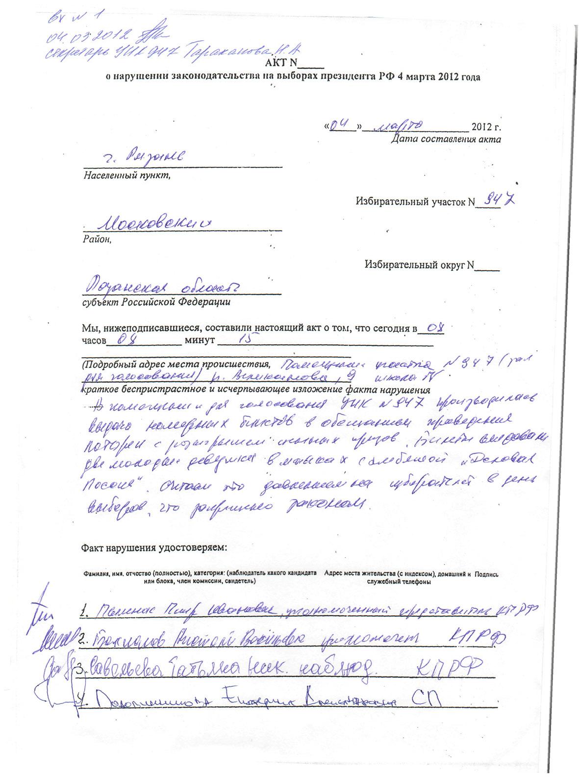 Жалобы на нарушение избирательного законодательства от КПРФ (часть 1)