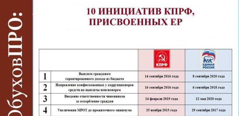 С.П. Обухов - «Коммерсанту» об украденных единороссами инициативах КПРФ